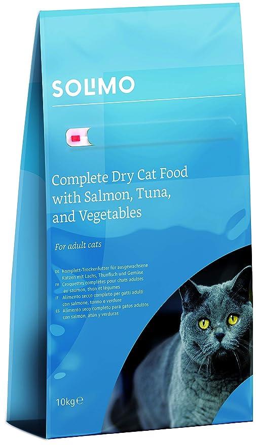 Marca Amazon - Solimo - Alimento seco completo para gatos adultos con salmón, atún y verduras, 1 pack de 10 kg