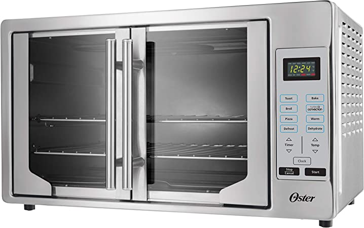 Oster French Convection Countertop & Toaster Oven | Single Door Pull & Digital Controls | Stainless Steel, Extra Large