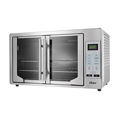 Oster French Convection Countertop & Toaster Oven   Single Door Pull & Digital Controls   Stainless Steel, Extra Large