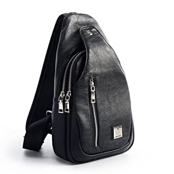 b0fe9beb2e0 Amazon.com   Sling Bag Chest Shoulder Backpack Crossbody Bags for Men Women  Travel Outdoors (Large Pu leather)   Casual Daypacks