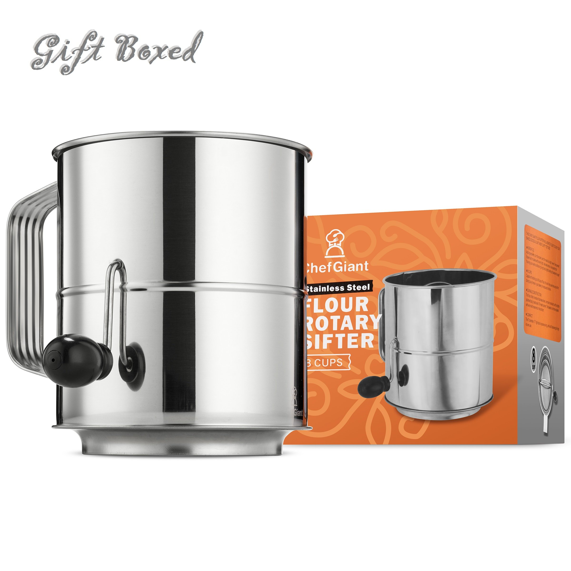 ChefGiant Flour Sifter 8 Cup Stainless Steel Rotary Hand Crank with 16 Fine Mesh Screen, Corrosion Resistant Baking Tool Sugar Sifter - Decorate Cakes, Pies, Pastries, Cupcake - Great Gift Idea