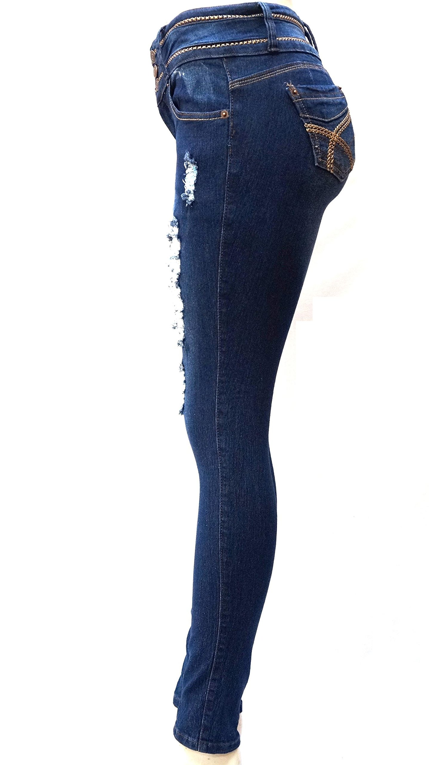 DM 1826 Juniors Womens Blue Denim Jeans Destroy Skinny Ripped Distressed Pants (1) by JEANS FOR LOVE (Image #3)