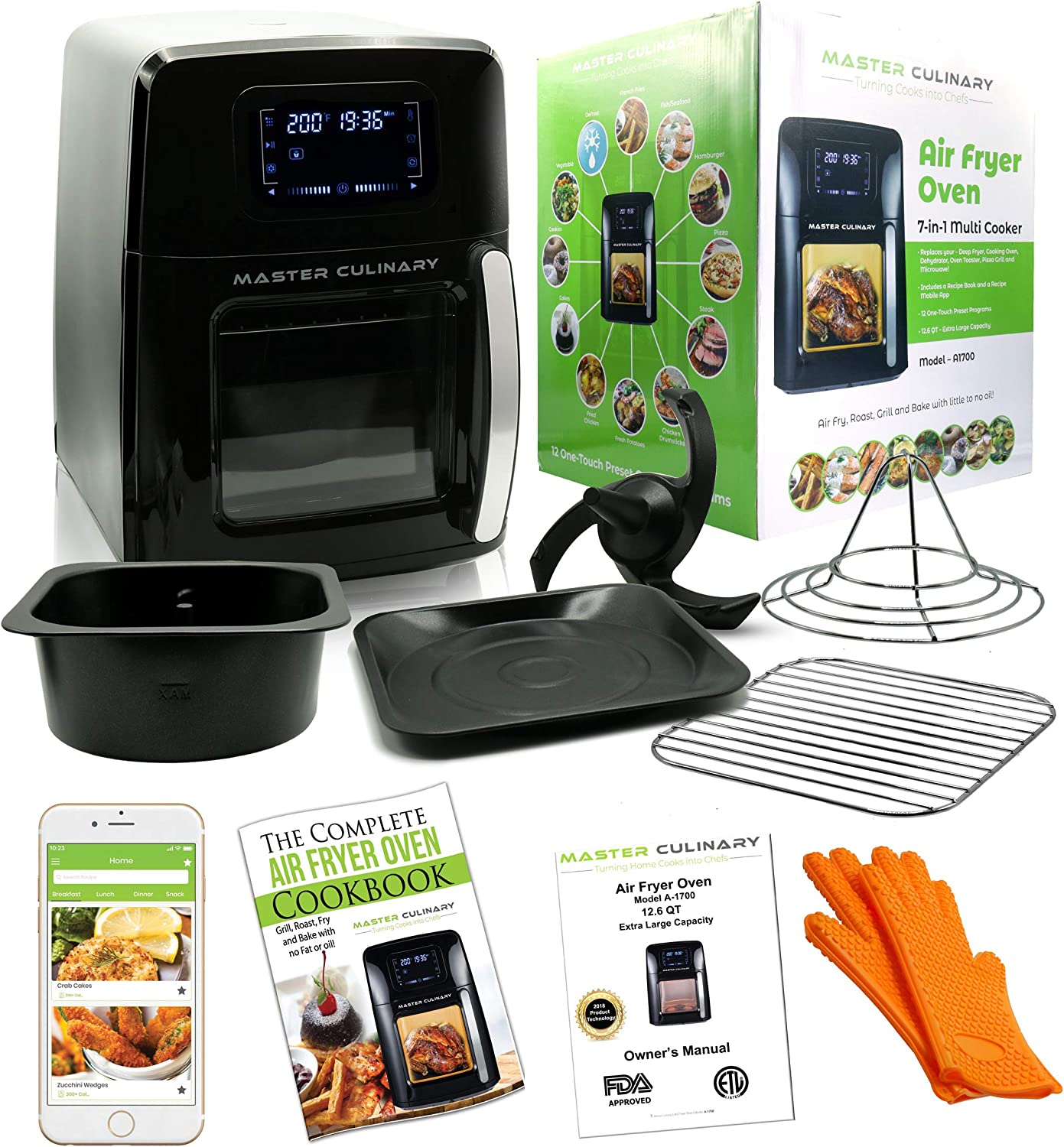 Master Culinary Air Fryer Oven   12 QT XL Family Size   7 in 1 Multi Cooker   FDA Approved   Free Mobile App and Recipe Book Included   Rapid Air Technology   Digital Display, Slick Design, Ultra Quiet, 12 Preset Programs, 1700W, 1 Year Warranty   VOTED AS THE BEST IN THE MARKET FOR 2018   Like Seen On TV