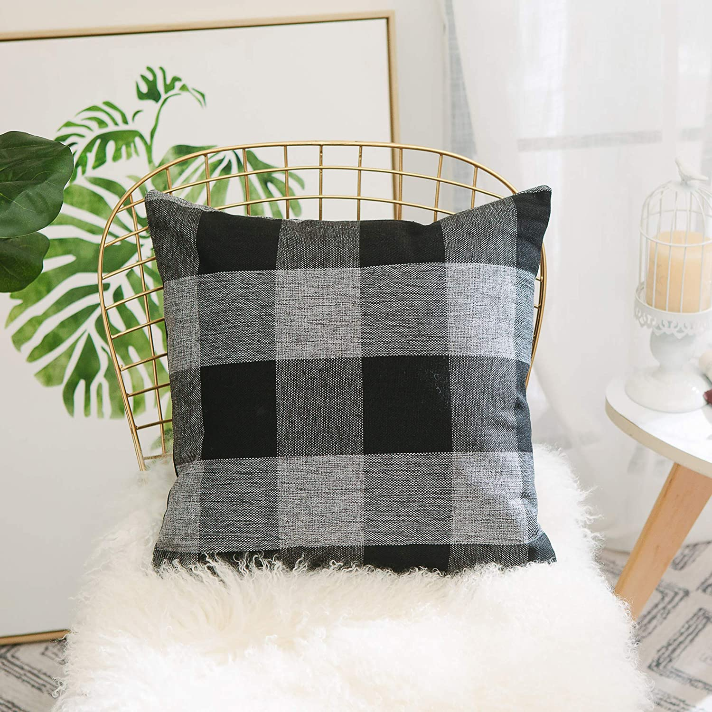 Home Brilliant Grey Black Buffalo Checkers Plaids Retro Burlap Linen Euro Sham European Pillow Covers Throw Pillow Covers Cushion Cases, 26x26 Inches(66x66cm)