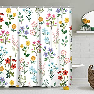 Stacy Fay Shower Curtain, Shower Curtains Sets with 12 Hooks, Bathroom Accessories, Machine Washable, Dry Quickly, Waterproof Fabric Bath Curtain 72