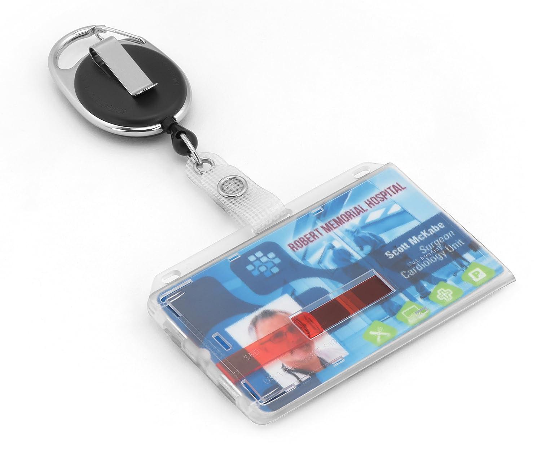 BE-HOLD - Custodia porta-tessere in plastica con clip, può contenere fino a 2 tessere di plastica, per conservare in tutta sicurezza le tessere ed estrarle con facilità tramite le 2 strisce rosse Creative Card GmbH 0000