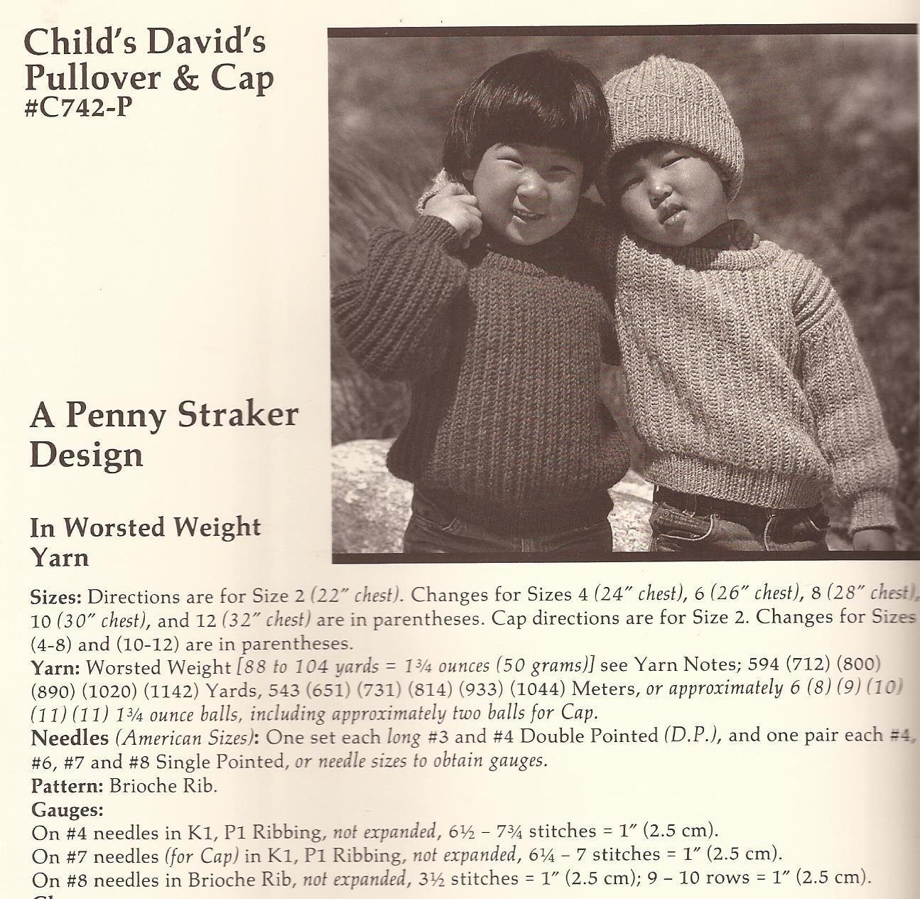 A Classic Straker Design Knitting Pattern #C742 Childs Davids Pullover /& Cap