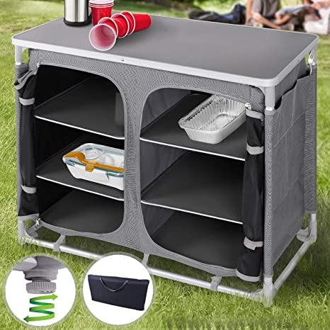 MIADOMODO Armario de Cocina para Camping Plegable - con 6 Compartimentos,  97x78x47,5cm, Estuche, 100% Polyester, Aluminio, MDF - Mueble Cocina ...