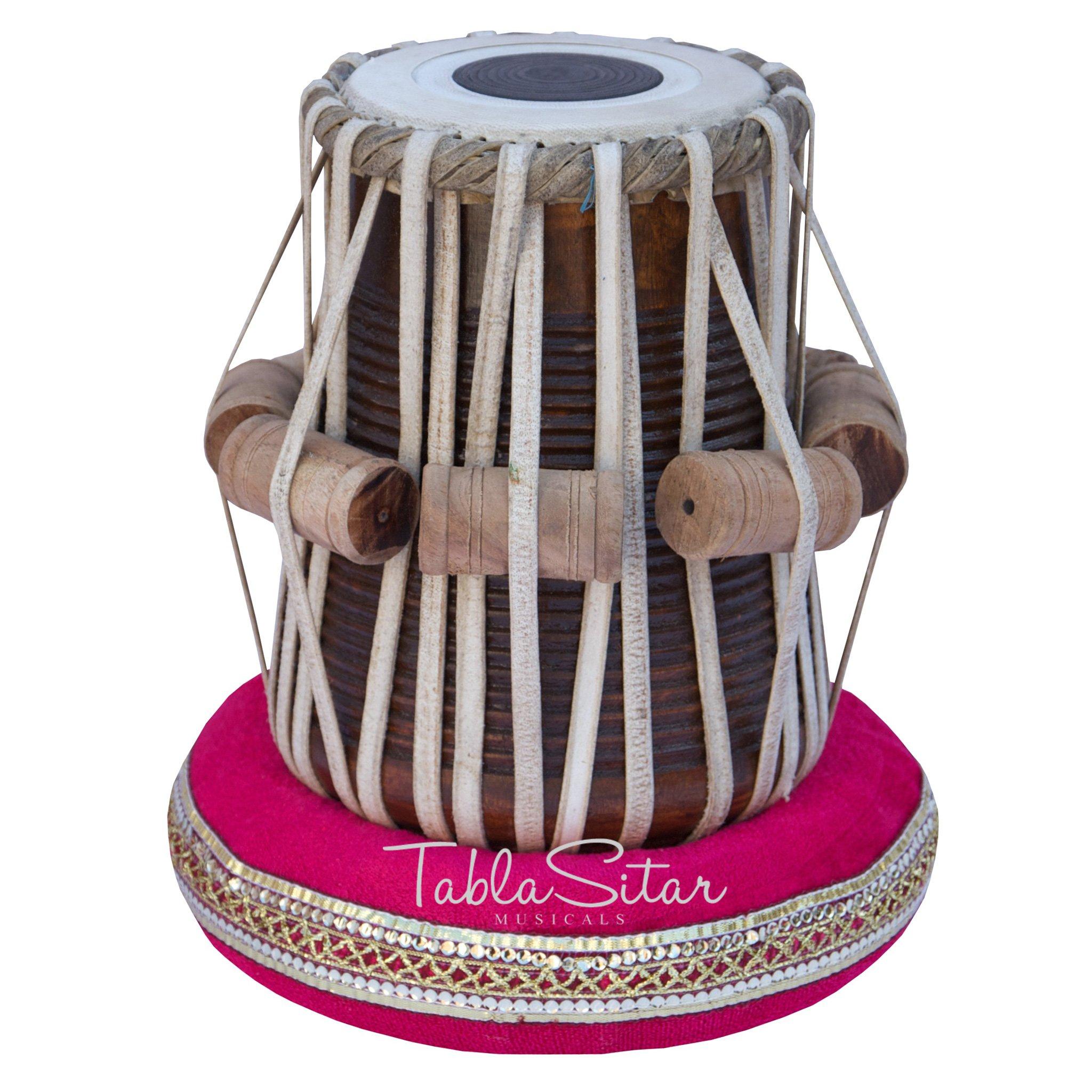 Tabla Drum Set by Maharaja Musicals, Professional, 3.5 Kg Copper Bayan - Designer Carving, Sheesham Tabla Dayan, Padded Bag, Book, Hammer, Cushions, Cover, Tabla Musical Instrument (PDI-CJH) by Maharaja Musicals (Image #4)