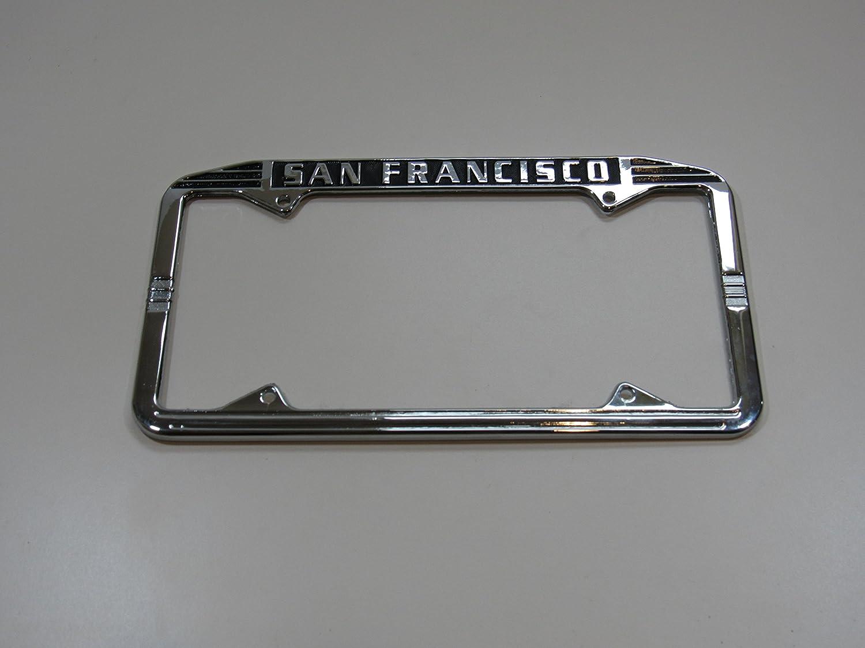 Art Deco San Francisco SF License Plate Frame Metal Chrome Nor Cal Speed