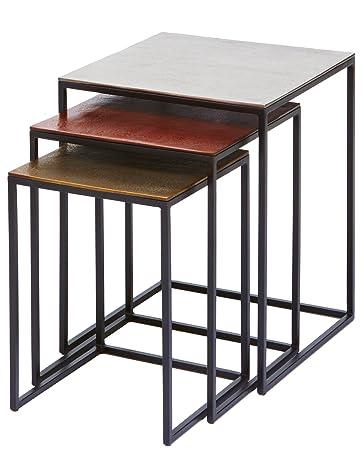 Beistelltisch Loft Square Vintage 3er Set, Moderner Kleiner Wohnzimmertisch  Edel, Designcouchtische Mit Schwarzen,