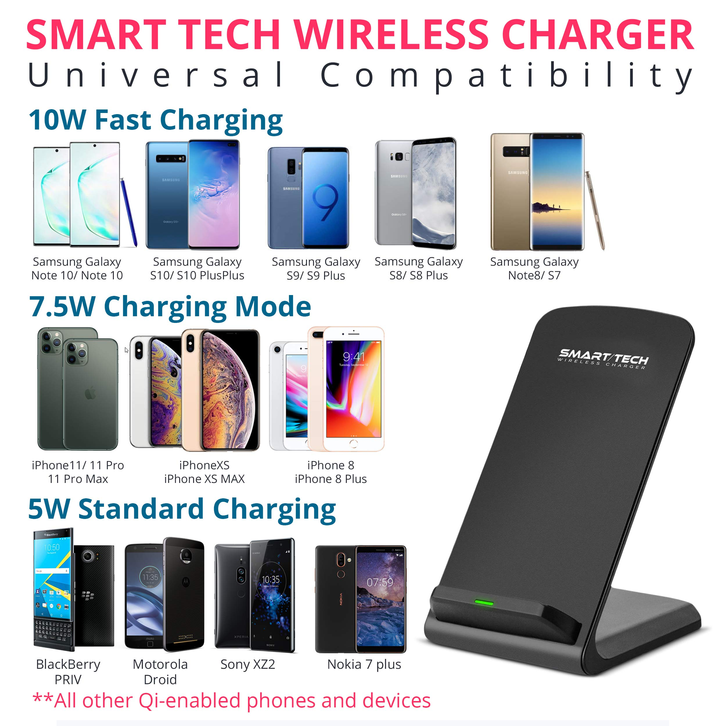 Smart|Tech 10W Qi Wireless Charger Stand for Samsung Galaxy S10 | S9 | S8 | S7 Edge Note 9|8 Qi-Certified Fast Charging Pad for iPhone X XS Max/XR/XS/8 + Compatible Phones (No AC Adapter) - Black