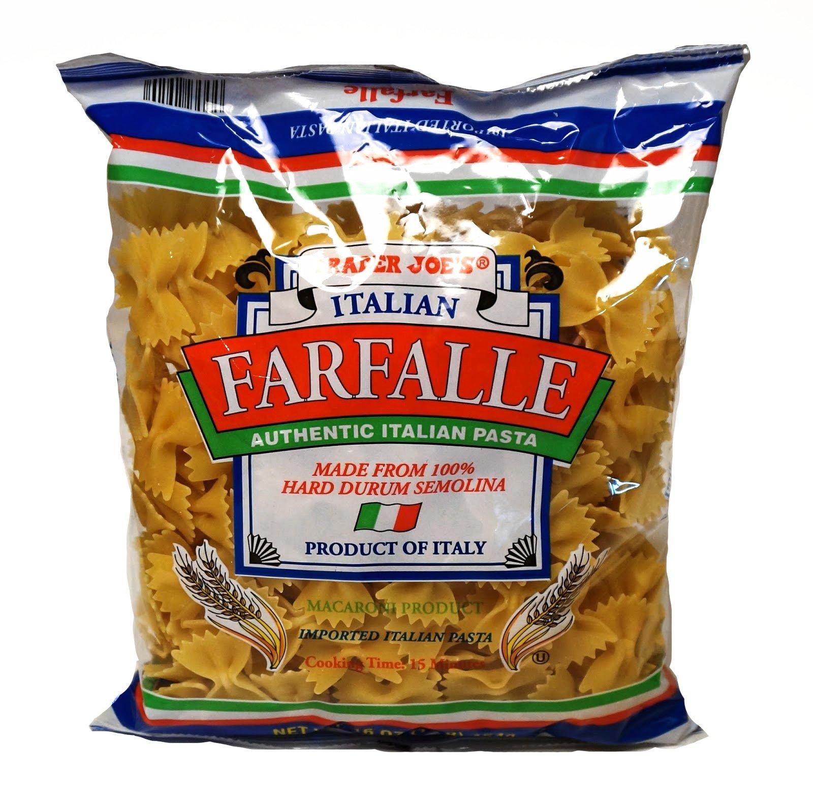 Trader Joe's Authentic Italian Farfalle Bow Tie Pasta 100% Durum Semolina - 1 lb (16 oz.)