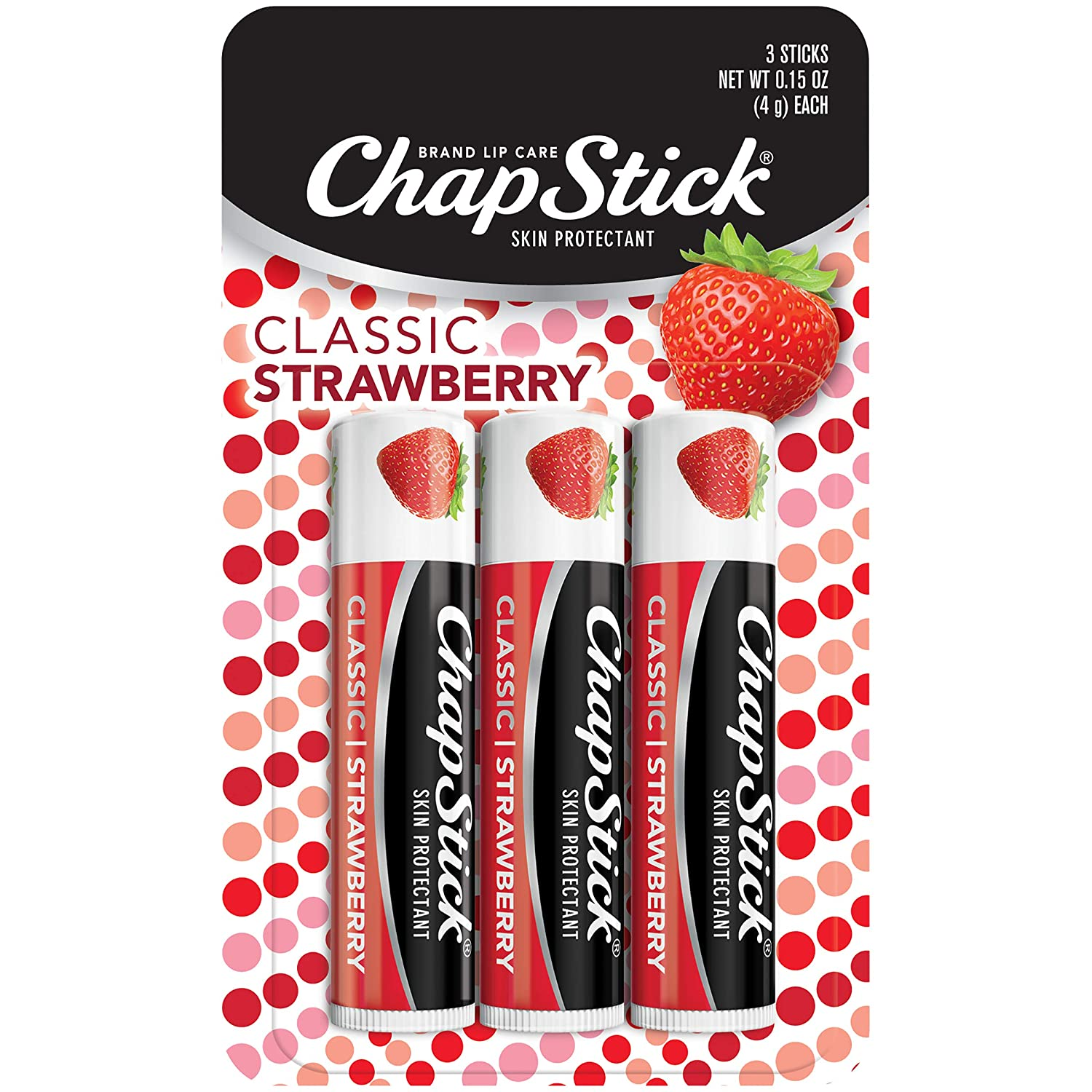 Chapstick Classic (1 Blister 3 Count Sticks, Strawberry Flavor) Skin Protectant Flavored Lip Balm Tube, 3 Count (Pack of 1)