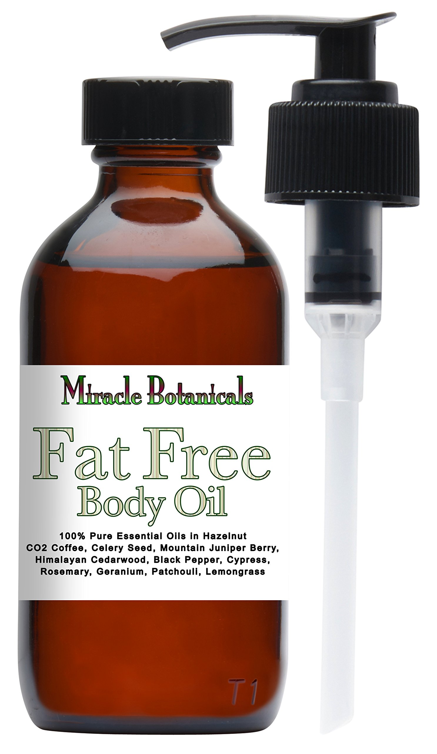 Miracle Botanicals Fat Free Body Oil - Cellulite Reducing Formula - 100% Therapeutic Grade - Pure Essential Oils and Carrier Oils - 4oz by Miracle Botanicals