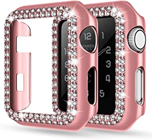 adepoy Apple Watch Case 44mm Series 6/5/4 SE Bling Rhinestone Apple Watch Protective Case Bumper Frame Screen Protector Case Cover for iWatch Series 44mm Rose-Pink