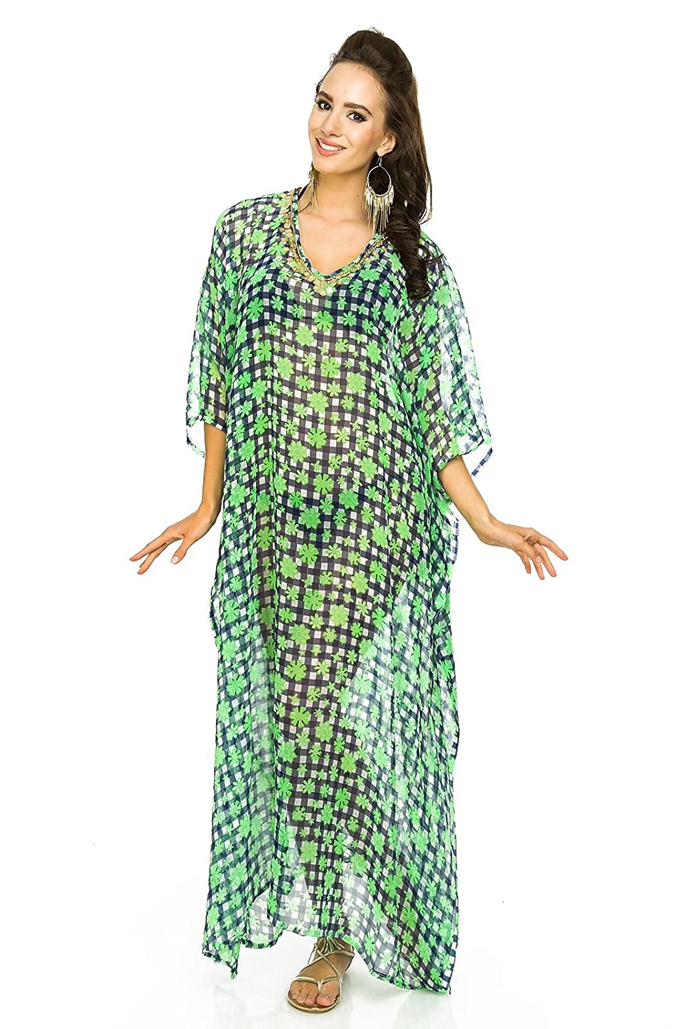 f9957a341cad7 Laides Full Length Kimono Maxi Summer Oversized Tunic Kaftan Throw Dress at  Amazon Women's Clothing store: