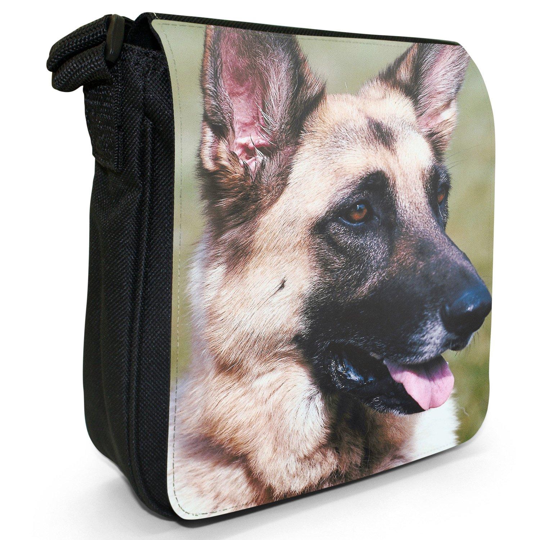 German Shepherd Dog Small Black Canvas Shoulder Bag / Handbag Snuggle