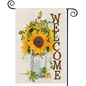 EKOREST Sunflowers Welcome Summer Garden Flags for Outside,12 x 18 Vertical Double Sided,Watercolor Sunflowers Mason Jar Decorative Farmhouse Flag for all Seasons,Small Yard Decor for Fall Outdoor