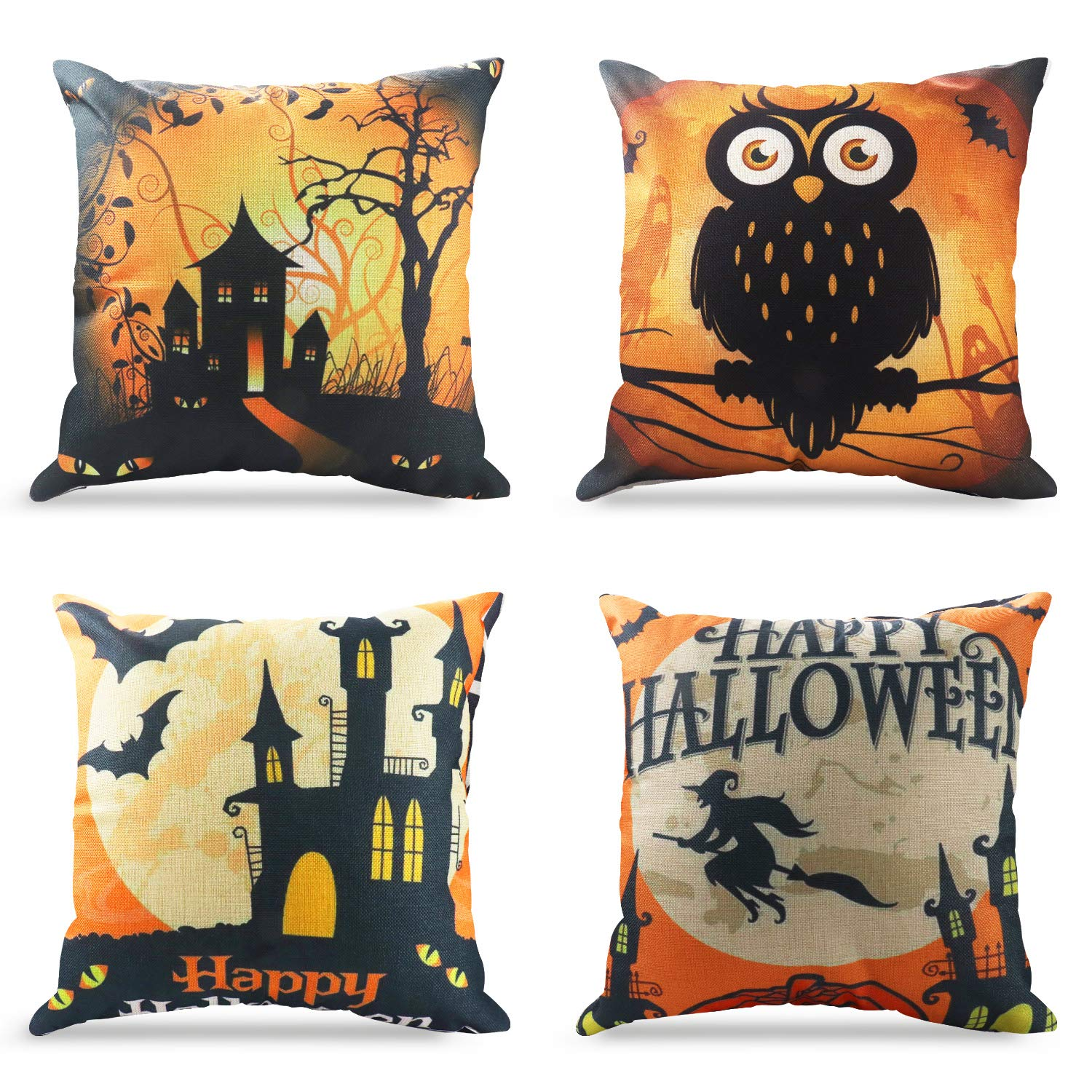 Happy Halloween Throw Pillow Covers 18 x 18 Inch Owl/Bat/Witch/Castle Theme Sofa Home Decorative Cotton Linen Cushion Covers Set of 4