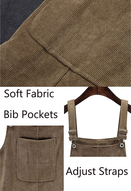2b398457cf Amazon.com  Flygo Women s Straps A-Line Corduroy Pinafore Bib Overall Dress  Suspender Skirt  Clothing