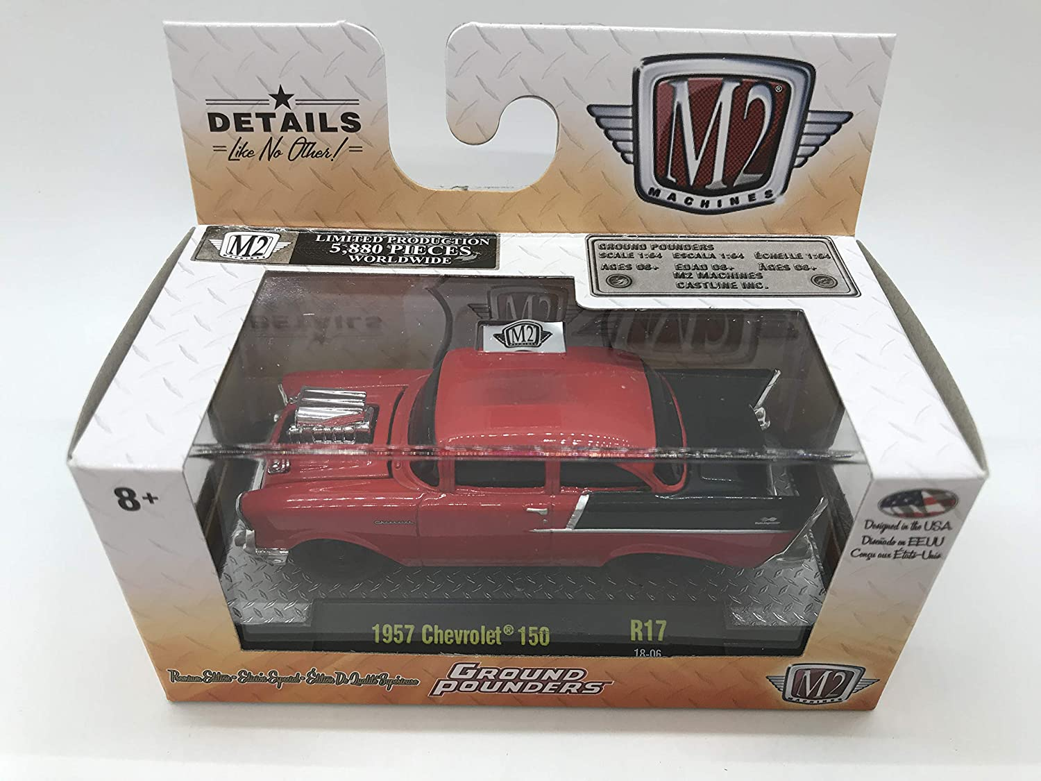 M2 Machines by M2 Collectible Ground Pounders 1957 Chevy 150 R17 18-06 Red//Black Details Like NO Other 1 of 5880