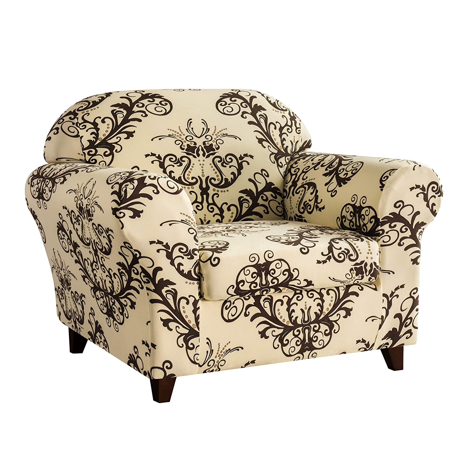 Subrtex Sofa Slipcovers Stretch Couch Covers 2-Piece Spandex Printed Furniture Protector Home Decor (Coffee, Chair)
