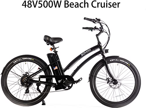 SOHOO 26 48V500W12.5Ah Electric Beach Cruiser City EBike Mountain Bike