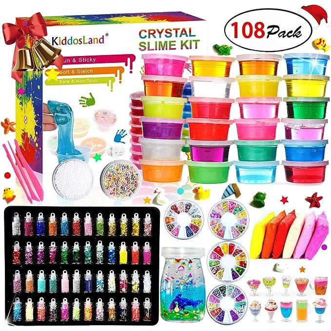 DIY Slime Kit - 24 Colores Kit de Slime Esponjoso con 48 brillantinas, Suministros de Slime Claro para niños, Incluye Arcilla Seca al Aire, rebanadas ...