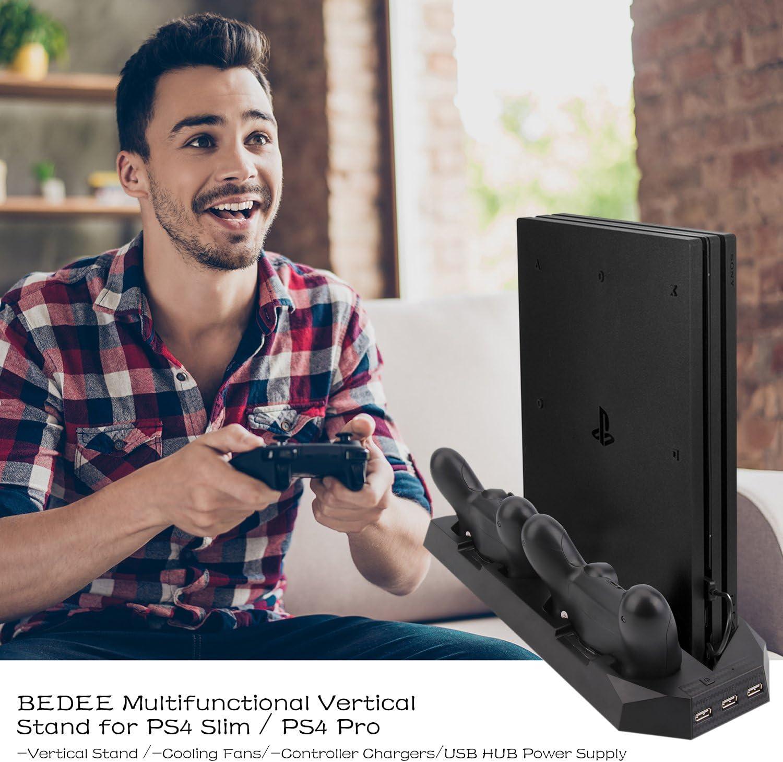 Soporte PS4 Slim / PS4 Pro Cargador de vertical con ventiladores Estación de carga controladores duales, HUB USB para Sony PlayStation 4 Cargador de consola Slim/ Pro Dualshock4 (No para PS4 regular):