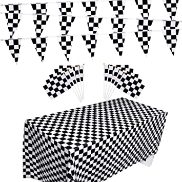 Awesome Race Car//Checkered Flag Decor//Supplies 100 ft Pennant Race Banner /& 16 Race Luncheon Napkins