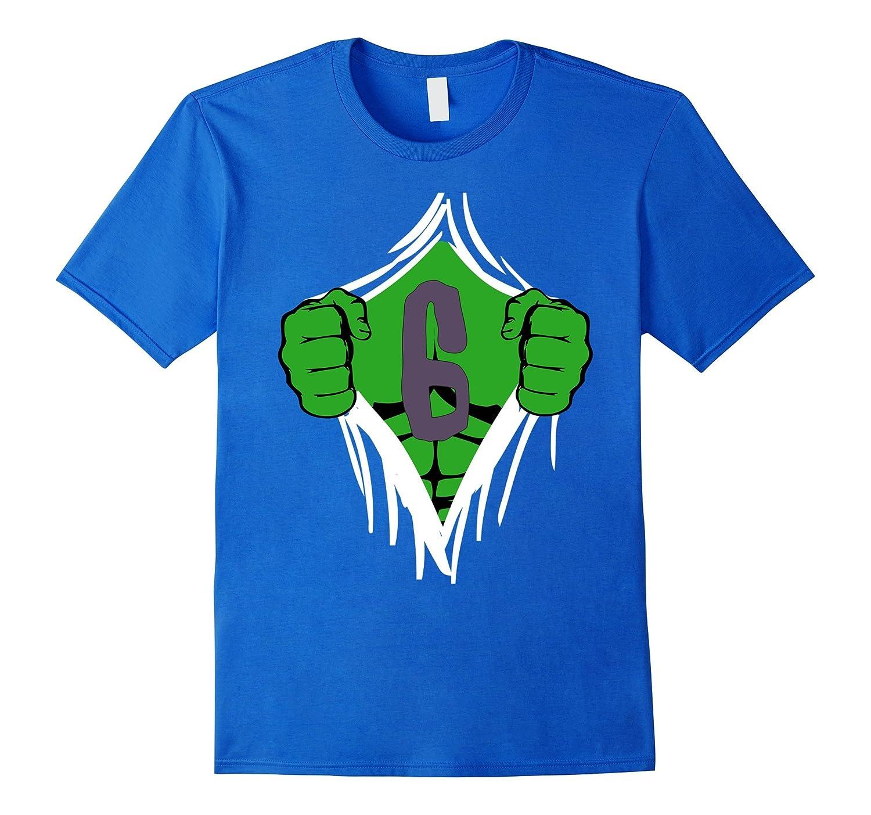 Green Man Chest Superhero Birthday Shirt For 6 Year Old Boys RT