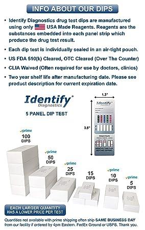 5 Pack Identify Diagnostics 5 Panel Drug Test Dip - Testing Instantly for 5  Different Drugs THC,