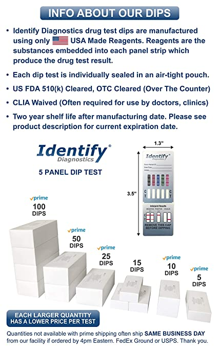 5 Pack Identify Diagnostics 5 Panel Drug Test Dip - Testing Instantly for 5  Different Drugs THC,