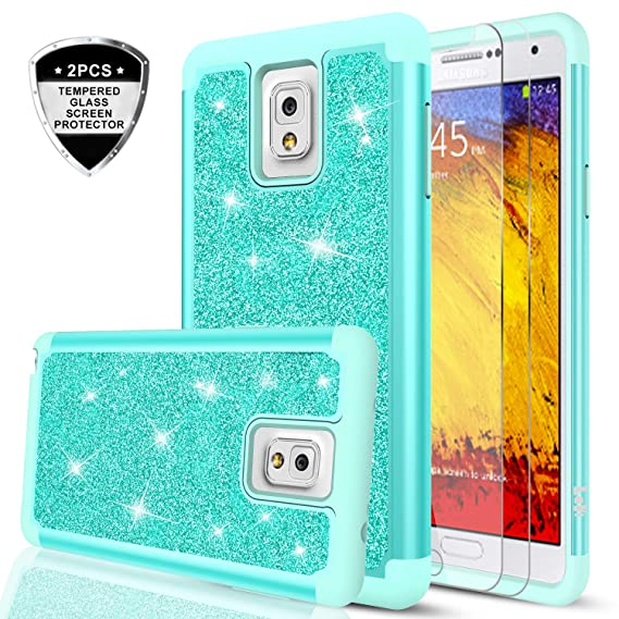 on sale 20778 53933 Galaxy Note 3 Glitter Case with Tempered Glass Screen Protector [2 Pack],  LeYi Girls Women Design [PC Silicone Leather] Dual Layer Heavy Duty ...
