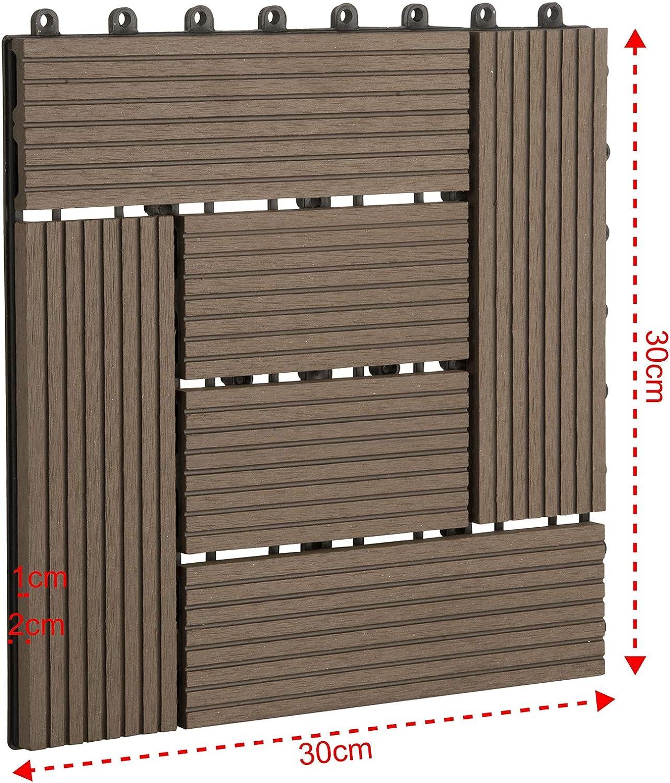 Baldosas de Madera para Jardin Terraza Marr/ón EUGAD 22x Suelo de Exterior WPC 30x30cm Terrazas del Piso 22 Set 2