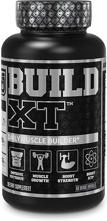 Build-XT Muscle Builder - Daily Muscle Building Supplement for Muscle Growth and Strength   Featuring Powerful Ingredients Peak02 & elevATP - 60 Veggie Pills