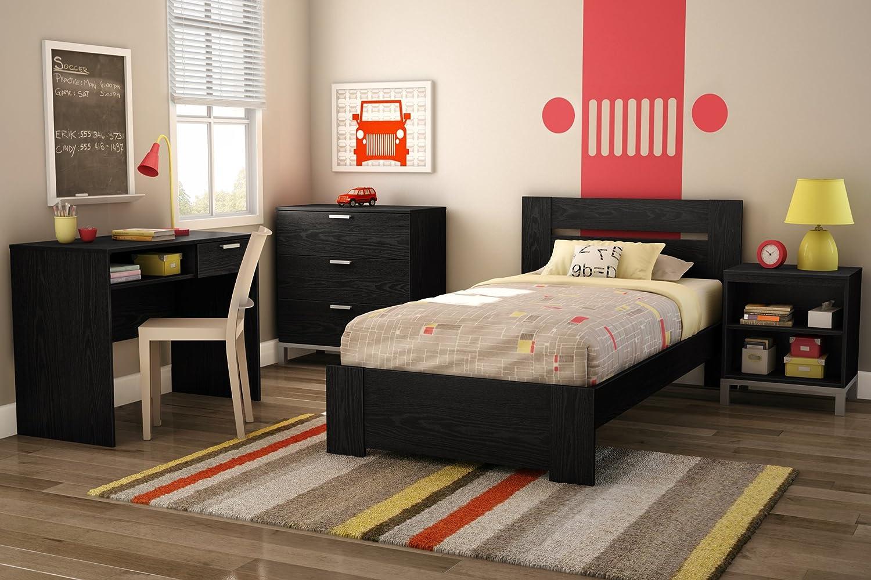 South Shore Flexible Collection 3 Drawer Dresser Black Oak With Matte Grey Handles Furniture Decor