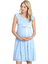 Hello Miz Maternity Floral Lace Baby Shower Party Cocktail Dress With Satin  Waist (Small,