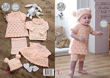 704feb673 King Cole 4731 Knitting Pattern Baby Set Dress Cardigan Sweater ...