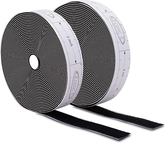Lineal-Druckband in inch f/ür einfachen Zuschnitt Hakenband innen au/ßen f/ür alle sauberen Oberfl/ächen Kunststoff Holz Porzellan inkl ECENCE Klettband selbstklebend Weiss 6m