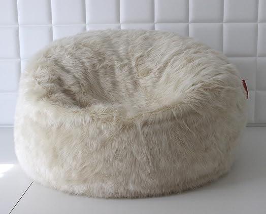 LARGE LUSH SOFT CREAM FOX FAUX FUR BEAN BAG CLOUD CHAIR COVER