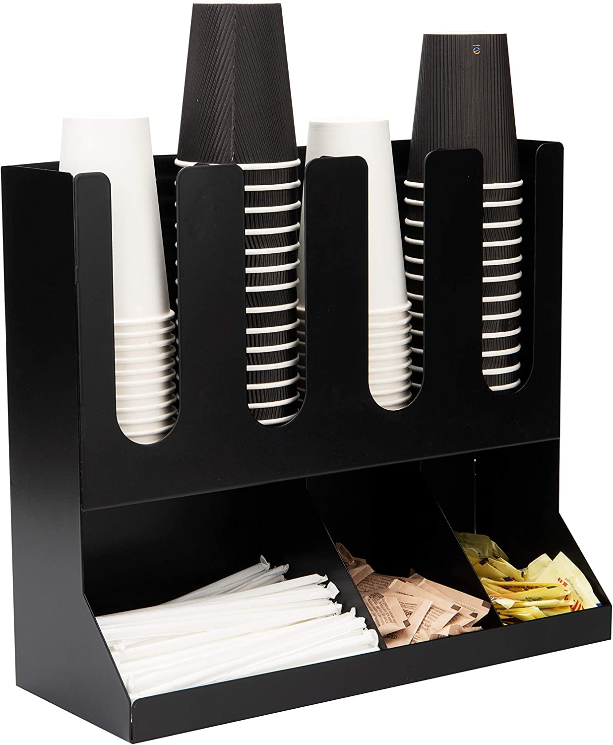 Mind Reader Upright Condiment Station 7 Section Countertop Organizer for Hot or Cold Disposable Cups, Sugar Packets, Straws, Utensils, Black Stainless Steel