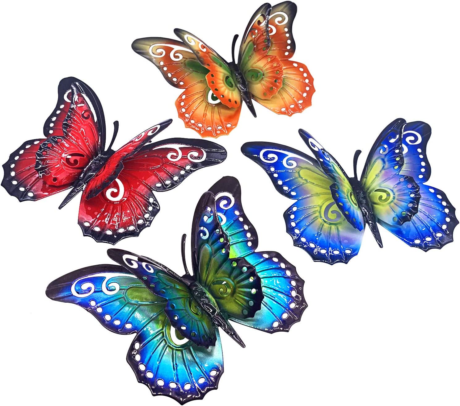 Metal Butterfly Wall Decor- 6.5'' 3D Metal Colorful Hanging Double Wings Butterflies for Garden Yard Decoration Outdoor or Indoor (4 Pack)