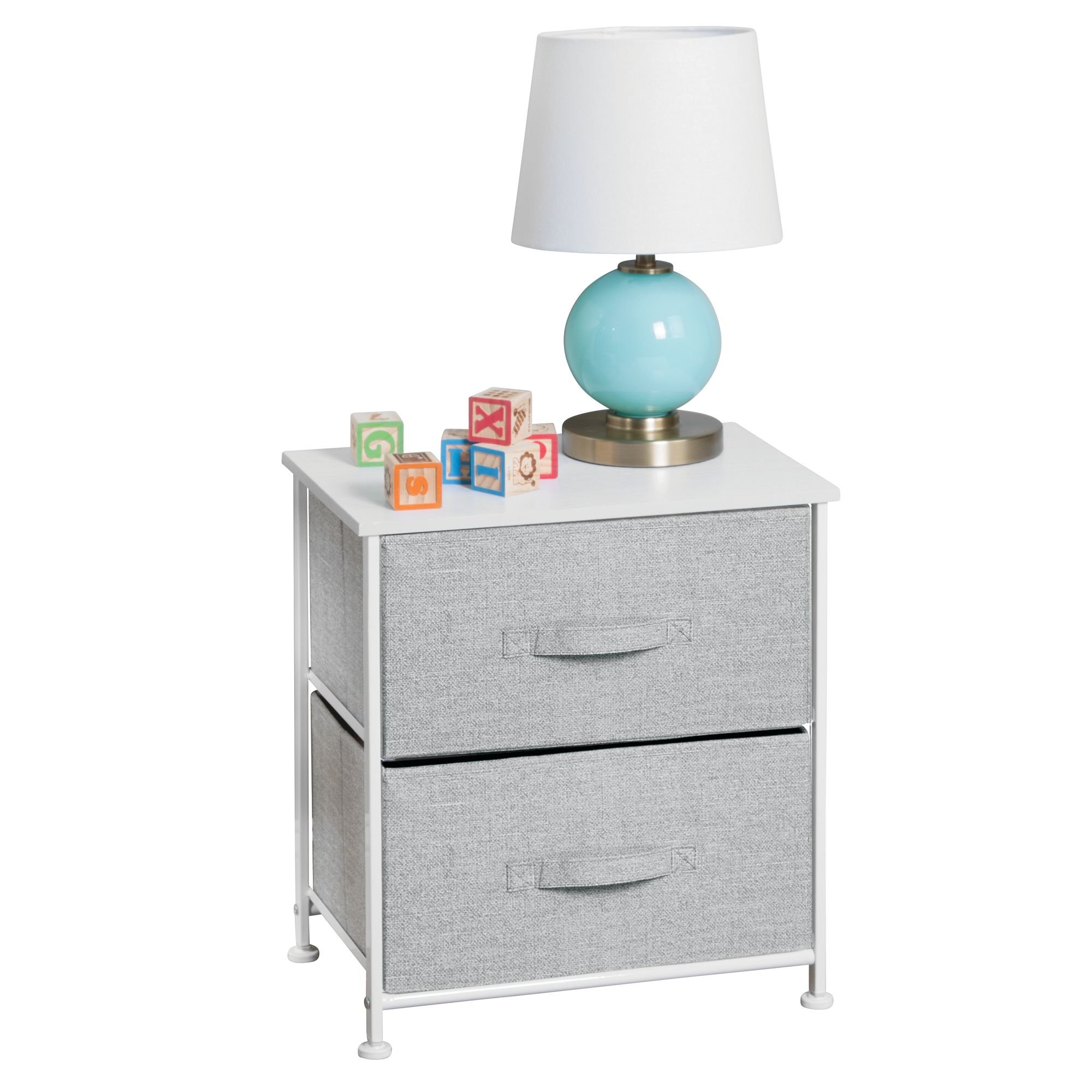 mDesign Fabric Baby 2-Drawer Dresser and Storage Organizer Unit for Nursery, Bedroom, Play Room - Gray