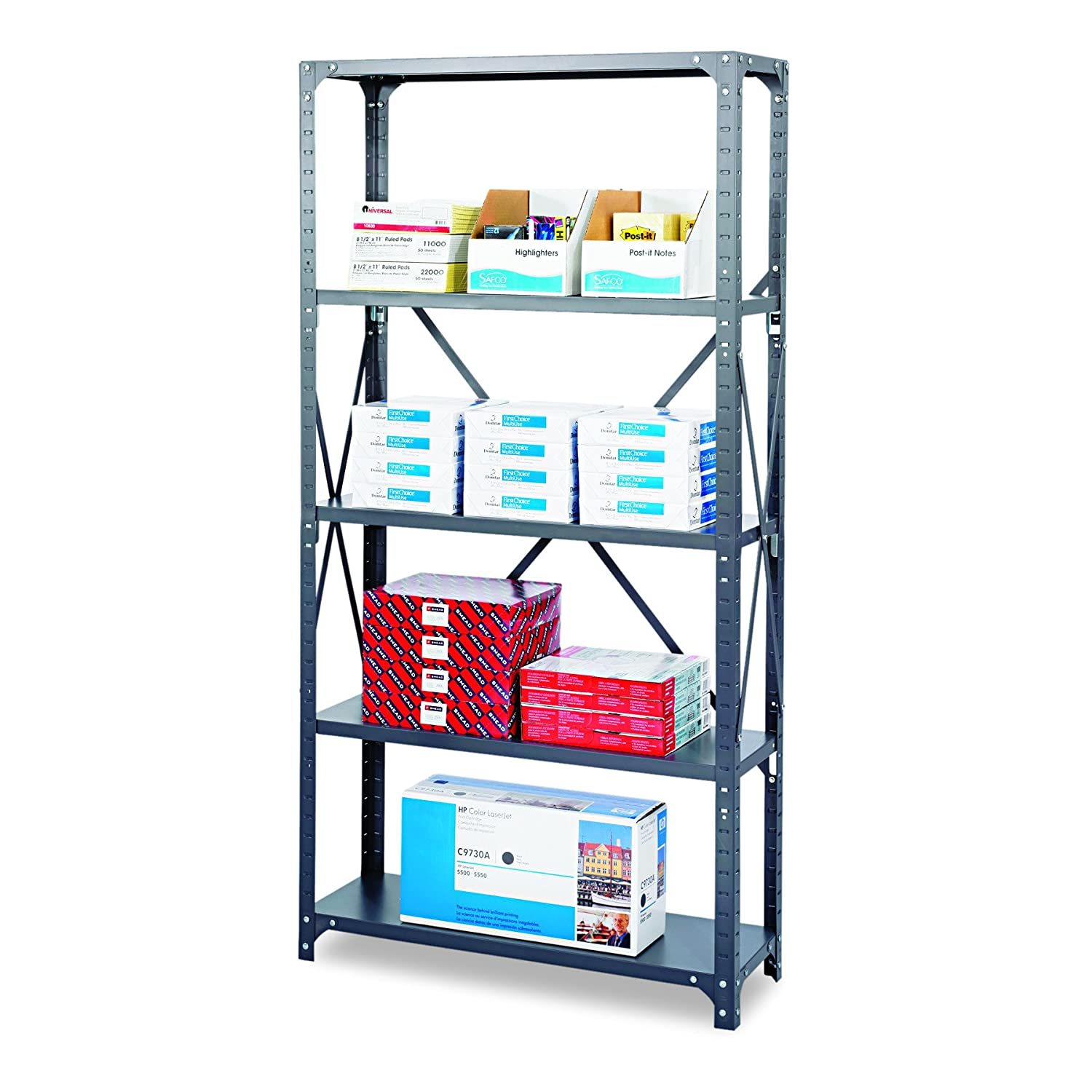 """Amazon.com: Safco Products 6266 Commercial Shelf Kit 36""""W x 18""""D x 72""""H with  5 Shelves, Gray: Office Products"""
