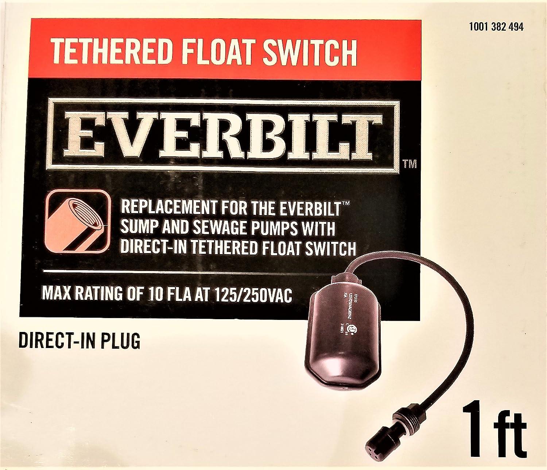 Everbilt Tethered Float Switch With Piggyback Plug.