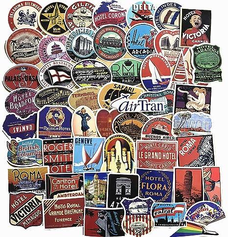 10 x Luggage Suitcase Retro Vinyl Stickers Vintage Hotel Names World Travel