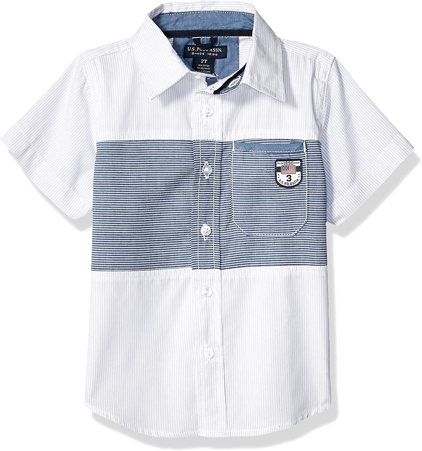 Boys Short Sleeve Striped Fashion Woven Shirt U.S Polo Assn