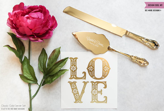 Gold Wedding Cake Knife and Server